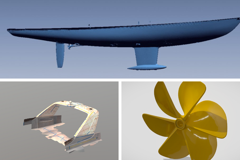 Escaneado 3D de áreas específicas del yate: casco, carenado y hélice